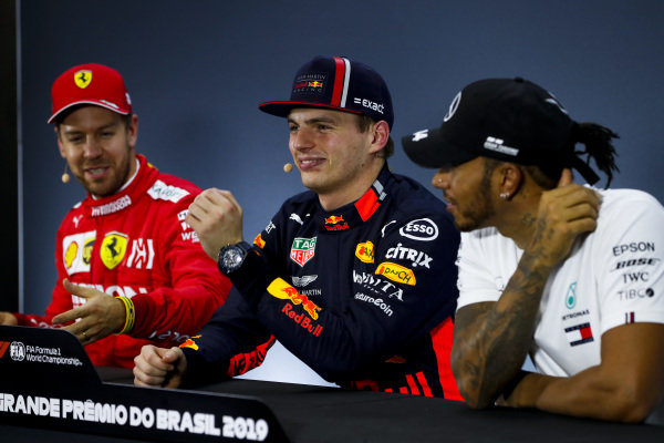 Sebastian Vettel, Ferrari, Pole Sitter Sebastian Vettel, Ferrari and Lewis Hamilton, Mercedes AMG F1 in the Press Conference