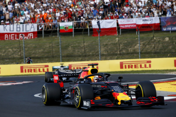 Max Verstappen, Red Bull Racing RB15 leads Lewis Hamilton, Mercedes AMG F1 W10