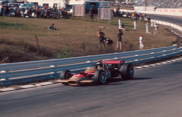 1969 United States Grand Prix.Watkins Glen, New York, USA.3-5 October 1969.Jochen Rindt (Lotus 49B Ford) 1st position and his maiden Grand Prix win.Ref-69 USA 81.World Copyright - LAT Photographic