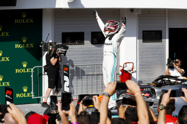 Race winner Lewis Hamilton, Mercedes AMG F1 celebrates in Parc Ferme