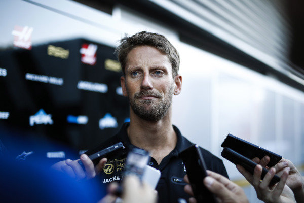 Romain Grosjean, Haas F1, is interviewed after practice