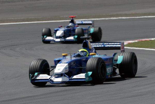 2002 European Grand Prix - RaceNurburgring, Germany. 23rd June 2002Felipe Massa, Sauber Petronas C21, leads team mate Nick Heidfeld, action.World Copyright: Steve Etherington/LATref: Digital Image Only