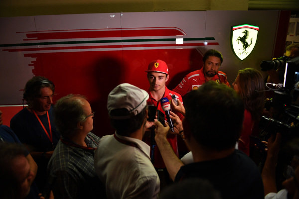 Charles Leclerc, Ferrari talks with the media