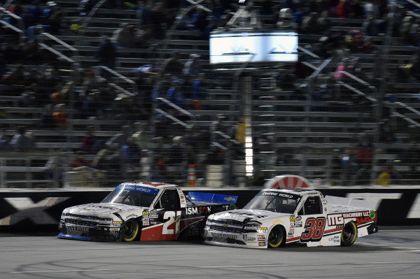 #21: Johnny Sauter, GMS Racing, Chevrolet Silverado ISM Connect and #38: Ross Chastain, Niece Motorsports, Chevrolet Silverado Niece Equipment