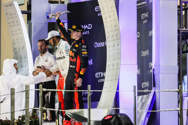 Max Verstappen, Red Bull Racing, 3rd position, lifts his trophy