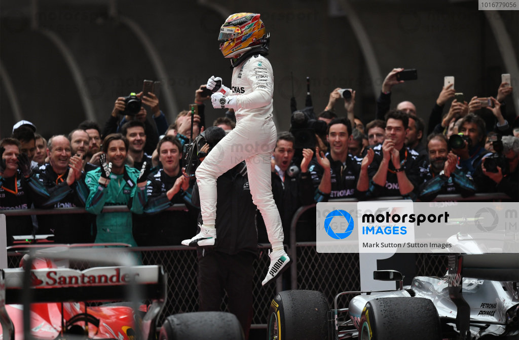 Race winner Lewis Hamilton (GBR) Mercedes AMG F1 celebrates in parc ferme at Formula One World Championship, Rd2, Chinese Grand Prix, Race, Shanghai, China, Sunday 9 April 2017. BEST IMAGE