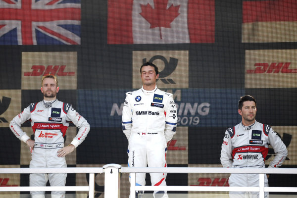 Podium: Race winner Bruno Spengler, BMW Team RMG, second place Jamie Green, Audi Sport Team Rosberg, third place Mike Rockenfeller, Audi Sport Team Phoenix.
