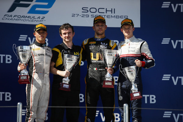 SOCHI AUTODROM, RUSSIAN FEDERATION - SEPTEMBER 29: The F2 sprint race podium. L-R: Nyck De Vries (NLD, ART GRAND PRIX), winner Luca Ghiotto (ITA, UNI VIRTUOSI) and Callum Ilott (GBR, SAUBER JUNIOR TEAM BY CHAROUZ) during the Sochi at Sochi Autodrom on September 29, 2019 in Sochi Autodrom, Russian Federation. (Photo by Joe Portlock / LAT Images / FIA F2 Championship)