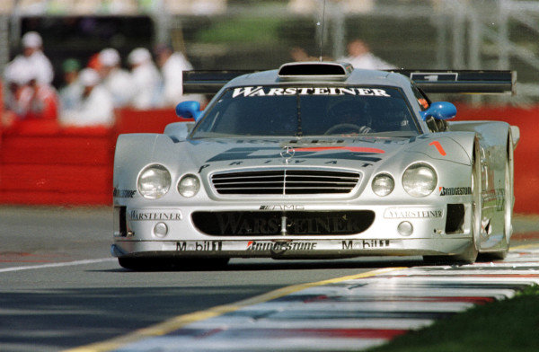 1998 Australian Grand Prix.Albert Park, Melbourne, Australia.6-8 March 1998.Mark Webber demonstrates the GT Mercedes-Benz CLK.World Copyright - LAT Photographic