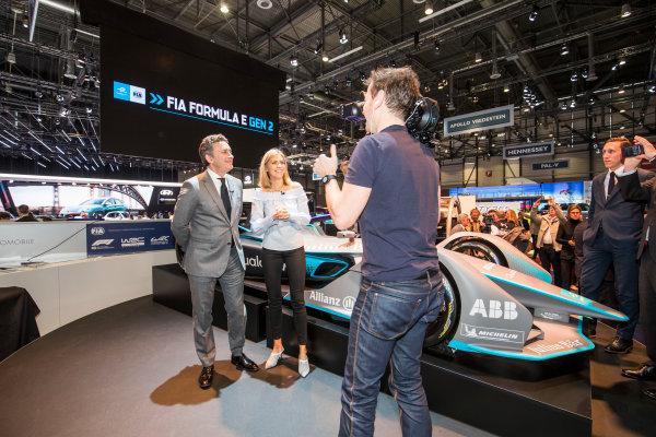 2017/2018 FIA Formula E Championship. Geneva Motor Show Tuesday 6 March 2018. The FIA Formula-E Gen2 car is unveiled. Photo: Sam Bloxham/LAT/Formula E ref: Digital Image _W6I3878