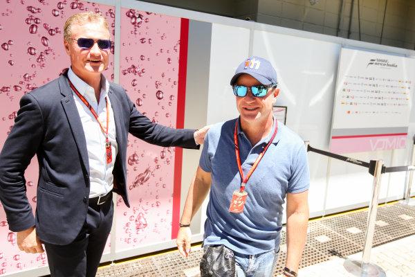 Interlagos, Sao Paulo, Brazil. Sunday 12 November 2017. David Coulthard, Channel 4 F1, and Rubens Barrichello. World Copyright: Charles Coates/LAT Images  ref: Digital Image AN7T4072