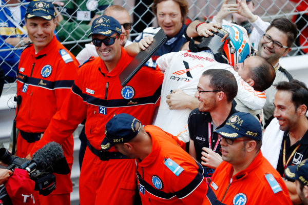 2017 FIA Formula 2 Round 3. Monte Carlo, Monaco. Saturday 27 May 2017. Nyck De Vries (NED, Rapax) celebrates with his team after winning the race. World Copyright: Glenn Dunbar/FIA Formula 2 ref: Digital Image _X4I9699