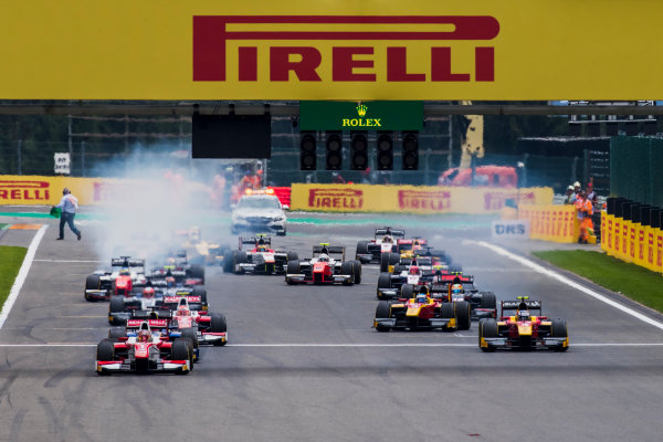 2017 FIA Formula 2 Round 8. Spa-Francorchamps, Spa, Belgium. Saturday 26 August 2017. Charles Leclerc (MCO, PREMA Racing) leads the field at the start of the race. Photo: Zak Mauger/FIA Formula 2. ref: Digital Image _54I1686
