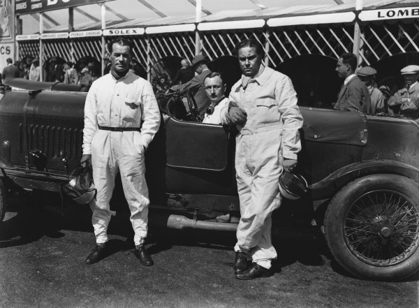 "Le Mans, France. 16th - 17th June 1928.Bentley boys left-to-right: Frank Clement, Henry ""Tim"" Birkin and Woolf Barnato, (Bentley 4