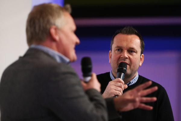 Autosport International Exhibition. National Exhibition Centre, Birmingham, UK. Saturday 14 January 2017. Johnny Herbert is interviewed by Henry Hope-Frost on the Autosport Stage. World Copyright: James Roberts/Ebrey/LAT Photographic. Ref: AR3_7739