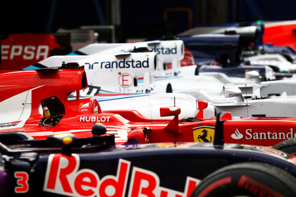 Monte Carlo, Monaco. Sunday 24 May 2015. The cars in Parc Ferme. World Copyright: Sam Bloxham/LAT Photographic. ref: Digital Image _G7C0119
