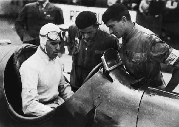Nurburgring, Germany. 28 July 1935. Tazio Nuvolari (Alfa Romeo Tipo-B P3), 1st position. His greatest victory, action.  World Copyright: LAT Photographic. Ref:  RF 35GER27A