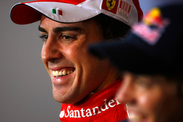 Hockenheimring, Hockenheim, Germany25th July 2010Fernando Alonso, Ferrari F10, 1st position, and Sebastian Vettel, Red Bull Racing RB6 Renault, 3rd position, in the post race press conference. Portrait. Press Conferences.World Copyright: Charles Coates/LAT Photographicref: Digital Image _26Y6265
