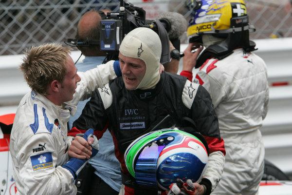 2005 GP2 Series - MonacoMonte-Carlo. 20th & 21st MaySaturday - RaceGianmaria Bruni (I, Coloni Motorsport). congratulates Adam Carroll (GB, Super Nova International). on his win. Portrait.