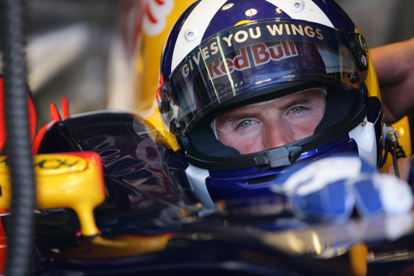 2005 European Grand Prix - Friday Practice,Nurburgring, Germany. 27th May 2005 David Coulthard, Red Bull Racing Cosworth RB1, in helmet, portrait World Copyright: Steve Etherington/LAT Photographic ref: 48mb Hi Res Digital Image