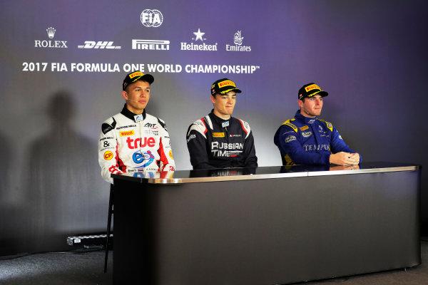 Red Bull Ring, Spielberg, Austria. Sunday 9 July 2017 Artem Markelov (RUS, RUSSIAN TIME). Alexander Albon (THA, ART Grand Prix). Oliver Rowland (GBR, DAMS).  Photo: Mauger/FIA Formula 2 ref: Digital Image _54I0452