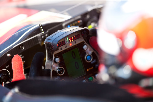 Paul Ricard, France. 9th - 11th April 2010. Steering wheel detail on the car of Dindo Capello / Tom Kristensen / Allan McNish, (Audi Sport Team Joest, Audi R15 TDI). Detail. World Copyright: Drew Gibson/LAT Photographic. Digital Image _Y8P8391