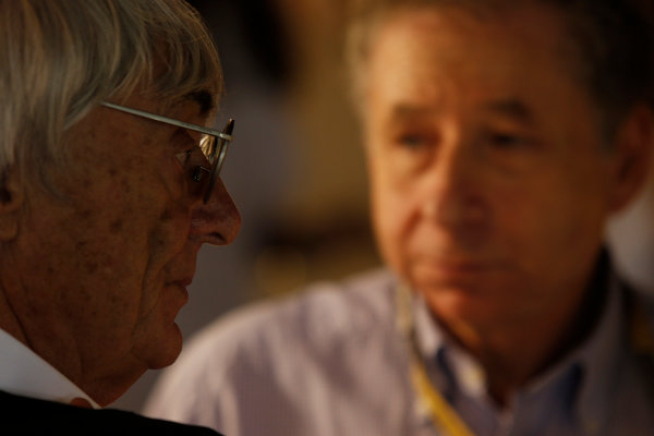 Yas Marina Circuit, Abu Dhabi, United Arab Emirates Saturday 3rd November 2012. Bernie Ecclestone, CEO, FOM, and Jean Todt, President, FIA.  World Copyright:Charles Coates/  ref: Digital Image _N7T4905