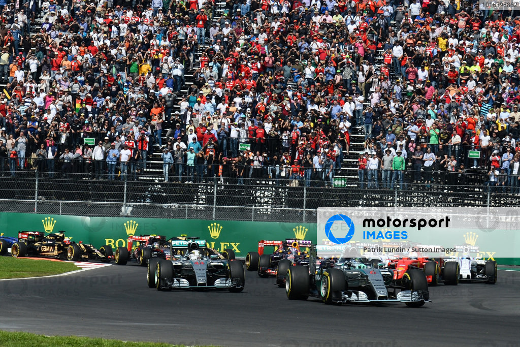 Nico Rosberg (GER) Mercedes AMG F1 W06 leads Lewis Hamilton (GBR) Mercedes AMG F1 W06 at the start of the race at Formula One World Championship, Rd17, Mexican Grand Prix, Race, Circuit Hermanos Rodriguez, Mexico City, Mexico, Sunday 1 November 2015.
