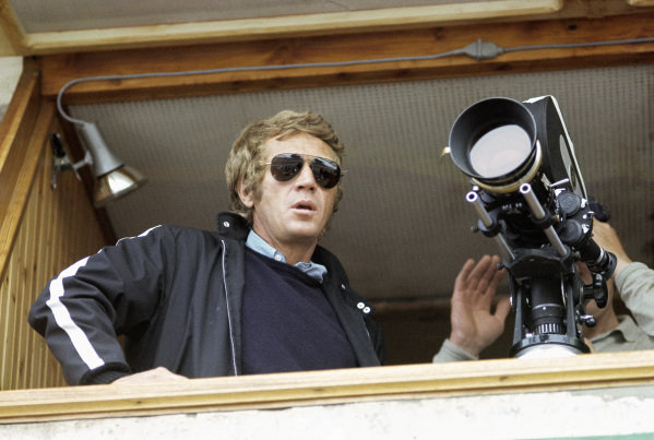 Actor Steve McQueen during the production of the film 'Le Mans'.
