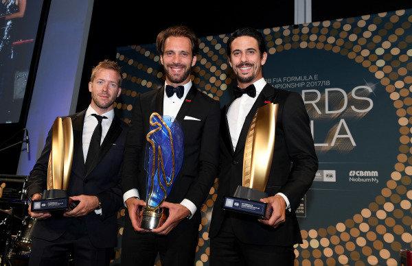 Top 3 drivers for the 2017-2018 ABB Formula E Season 4, Jean-Eric Vergne (FRA), TECHEETAH, Renault Z.E. 17, Lucas Di Grassi (BRA), Audi Sport ABT Schaeffler, Audi e-tron FE04, and Sam Bird (GBR), DS Virgin Racing, DS Virgin DSV-03.