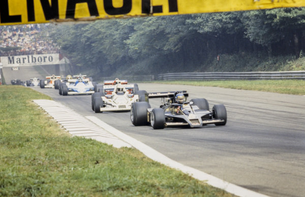 Ronnie Peterson, Lotus 78 Ford leads Alan Jones, Williams FW06 Ford, John Watson, Brabham BT46 Alfa Romeo and Jacques Laffite, Ligier JS9 Matra.