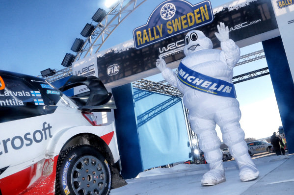 Michelin1 man celebrates on the podium at World Rally Championship, Rd2, Rally Sweden, Day Three, Karlstad, Sweden, 12 February 2017.
