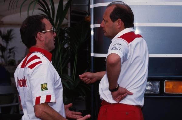 Jackie Oliver, left, talks with Ron Dennis. German Grand Prix, Hockenheim, 25 July 1993