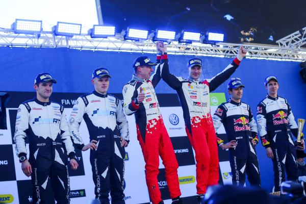 (L to R): Second placed Ott Tanak (EST) / Martin Jarveoja (EST), M-Sport World Rally Team WRC, rally winners Jari-Matti Latvala (FIN) / Miikka Anttila (FIN), Toyota Gazoo Racing WRC and third placed Sebastien Ogier (FRA) / Julien Ingrassia (FRA), M-Sport World Rally Team WRC celebrate on the podium at World Rally Championship, Rd2, Rally Sweden, Day Three, Karlstad, Sweden, 12 February 2017.