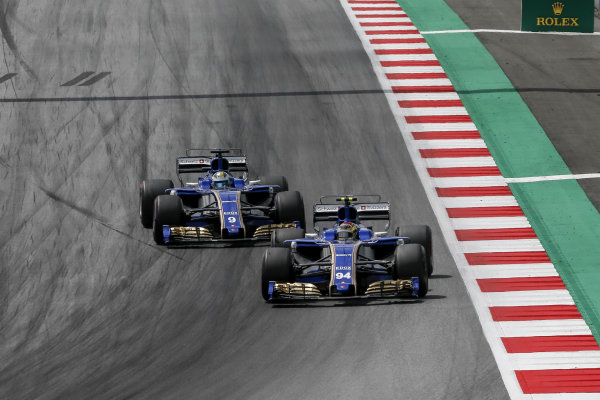Pascal Wehrlein (GER) Sauber C36 and Marcus Ericsson (SWE) Sauber C36 at Formula One World Championship, Rd9, Austrian Grand Prix, Race, Spielberg, Austria, Sunday 9 July 2017.