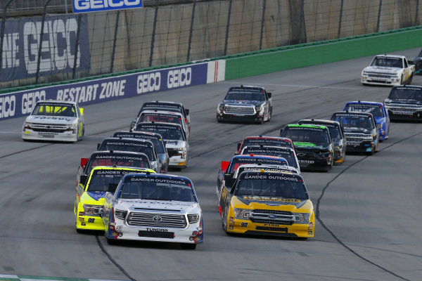 #51: Brandon Jones, Kyle Busch Motorsports, Toyota Tundra SoleusAir/Menards and #88: Matt Crafton, ThorSport Racing, Ford F-150 Great Lakes Wood Floors/ Menards