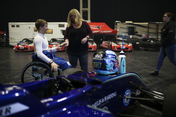 Billy Monger in the Live Action Arena paddock.