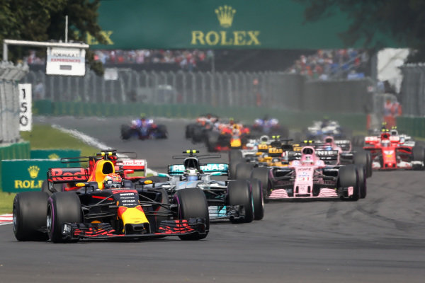 Max Verstappen (NED) Red Bull Racing RB13 leads at the start of the race at Formula One World Championship, Rd18, Mexican Grand Prix, Race, Circuit Hermanos Rodriguez, Mexico City, Mexico, Sunday 29 October 2017.