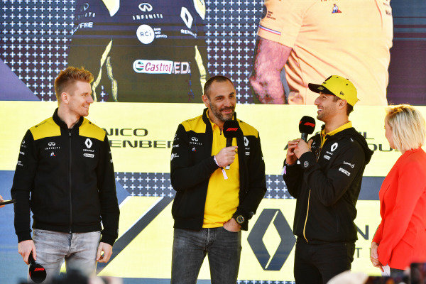 Nico Hulkenberg, Renault F1 Team, Cyril Abiteboul, Managing Director, Renault F1 Team, and Daniel Ricciardo, Renault, at the Federation Square event