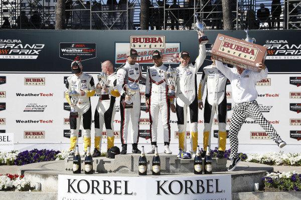 #3 Corvette Racing Corvette C7.R, GTLM: Jan Magnussen, Antonio Garcia, #912 Porsche GT Team Porsche 911 RSR, GTLM: Earl Bamber, Laurens Vanthoor, #4 Corvette Racing Corvette C7.R, GTLM: Oliver Gavin, Tommy Milner, podium
