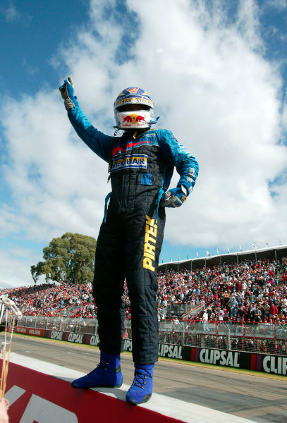 Clipsal 500 V8 Supercars Adelaide 22nd March 2003Ford driver Marcos Ambrose waves to the crowd after taking victory in race 1 of the 2003 V8 Supercar Championship.World Copyright: Mark Horsburgh/LAT Photographicref: Digital Image Only