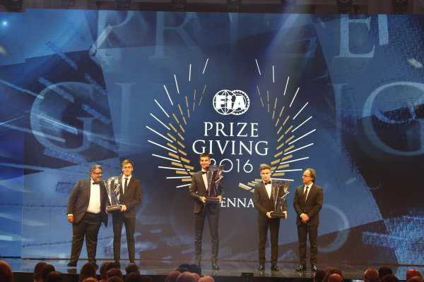 2016 FIA Prize Giving Vienna, Austria Friday 2nd December 2016 Winners on stage. Photo: Copyright Free FOR EDITORIAL USE ONLY. Mandatory Credit: FIA ref: 31235432322_bd9c1b0608_o