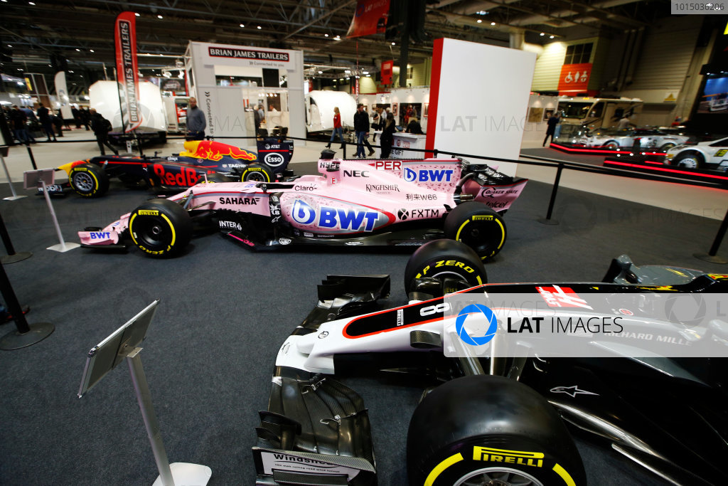 Autosport International Exhibition. National Exhibition Centre, Birmingham, UK. Thursday 11th January 2017. Haas, Force India and Red Bull cars on the F1 Racing Stand.World Copyright: Joe Portlock/LAT Images Ref: _L5R9845