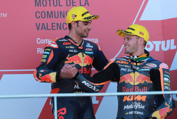 2017 Moto2 Championship - Round 18 Valencia, Spain  Sunday 12 November 2017 Podium: Race winner Miguel Oliveira, Red Bull KTM Ajo, Brad Binder, Red Bull KTM Ajo  World Copyright: Gold and Goose Photography/LAT Images  ref: Digital Image 706486