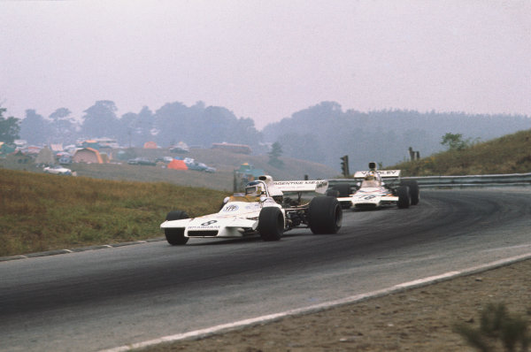 1972 Canadian Grand Prix.  Mosport, Canada. 22-24th September 1972.  Carlos Reutemann, Brabham BT37 Ford, 4th position, leads Denny Hulme, McLaren M19C Ford, 3rd position.  Ref: 72CAN53. World Copyright: LAT Photographic