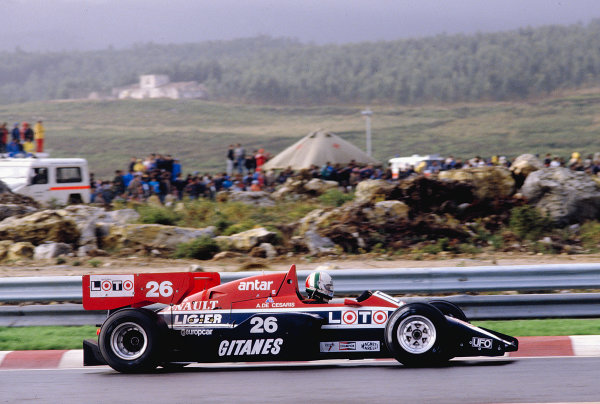 1984 Portuguese Grand Prix.Estoril, Portugal.19-21 October 1984.Andrea de Cesaris (Ligier JS23B Renault) 12th position.Ref-84 POR 34.World Copyright - LAT Photographic