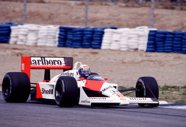 1988 Spanish Grand Prix.Jerez, Spain.30/9-2/10 1988.Alain Prost (McLaren MP4/4 Honda) 1st position.Ref-88 ESP 25.World Copyright - LAT Photographic