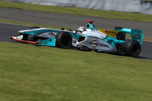 2014 Super Formula Series. Fuji, Japan. 17th - 18th May 2014. Rd 2. Race 2 - Winner Andre Lotterer ( #36 PETRONAS TOM'S SF14 ) action World Copyright: Yasushi Ishihara / LAT Photographic. Ref: 2014SF_Rd2_019.JPG