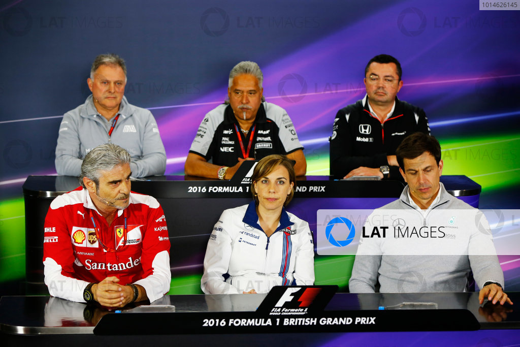Silverstone, Northamptonshire, UK Friday 08 July 2016. Mauricio Arrivabene, Team Principal, Ferrari, Dave Ryan, Racing Director, Manor Racing MRT, Vijay Mallya, Team Principal and Managing Director, Force India, Claire Williams, Deputy Team Principal, Williams Martini Racing, Eric Boullier, Racing Director, McLaren, and Toto Wolff, Executive Director (Business), Mercedes AMG, in the Team Principals Press Conference. World Copyright: Andy Hone/LAT Photographic ref: Digital Image _ONZ9984