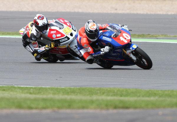 British Grand Prix.  Silverstone, England. 15th-17th June 2012.  Moto3. Alexis Masbou, Honda, leads Louis Rossi, FTR Honda.  World Copyright: Kevin Wood/LAT Photographic.  ref: Digital Image IMG_8724a